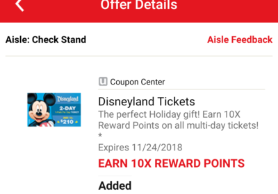 Earn 10x Gas Rewards on Disneyland Tickets at Safeway