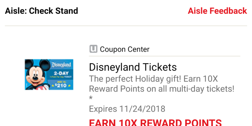 Earn 10x Gas Rewards on Disneyland Tickets at Safeway Is Over