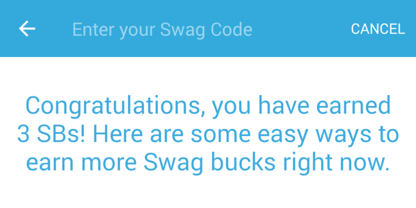 Swag Codes on Swagbucks