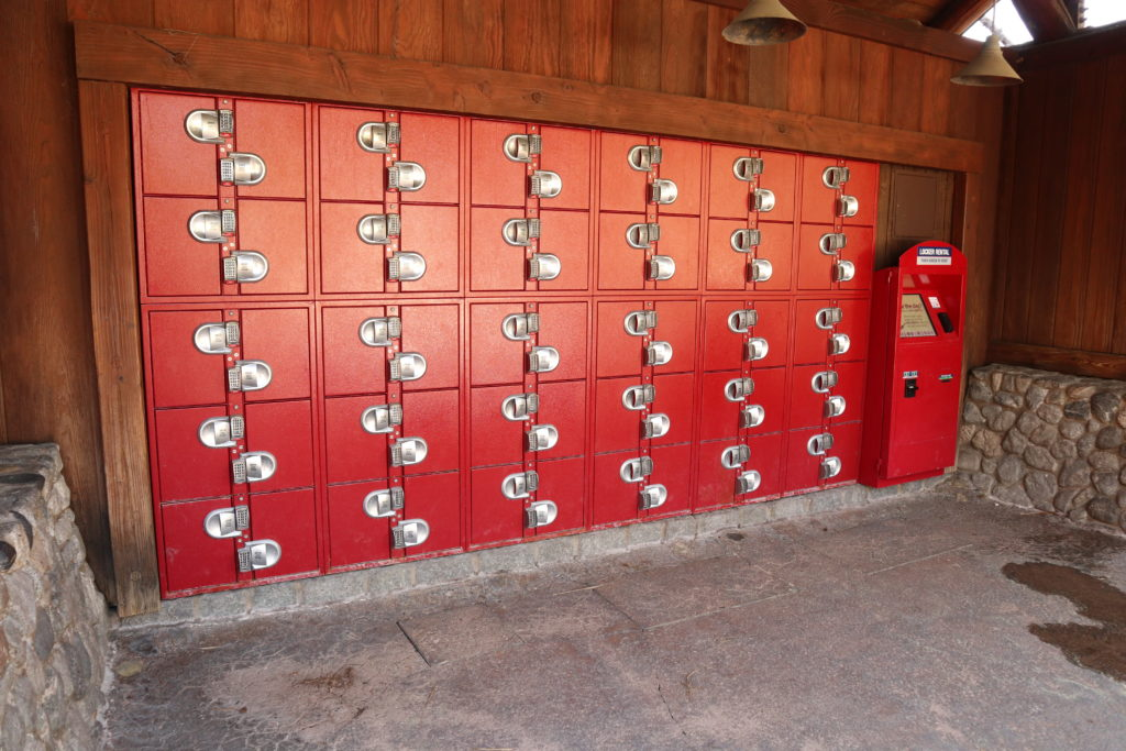 Free lockers next to Grizzly River Run at Disney California Adventure.
