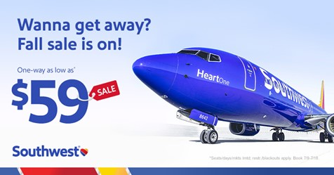 Southwest on Sale for Fall Travel