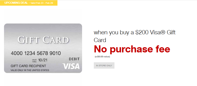 Staples ad for no purchase fee on $200 Visa gift cards from February 23 through February 29, 2020.