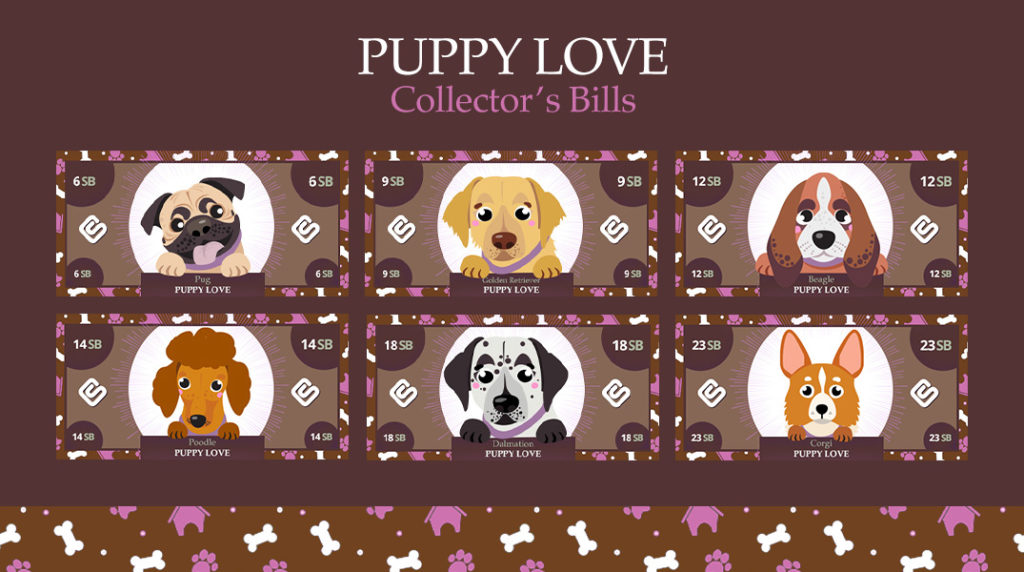 Puppy Love Collector's Bills. Six different puppies represent the amount you could win for searches this week on Swagbucks.