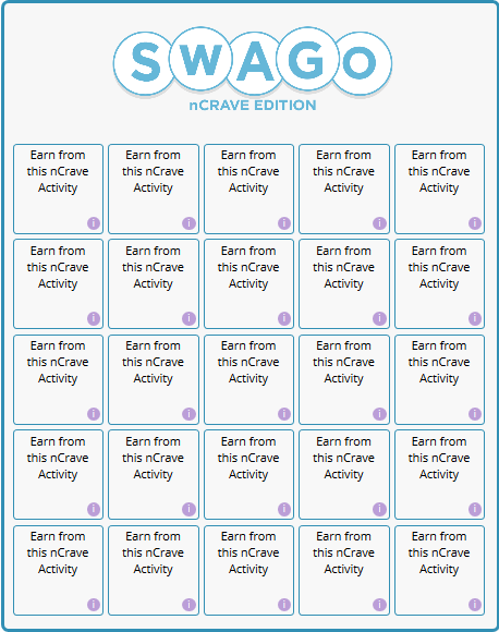 Swago board from Swagbucks on 2/19/2020. Swago board is full of nCrave activities.
