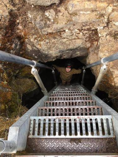 Descending into Golden Dome at Lava Beds
